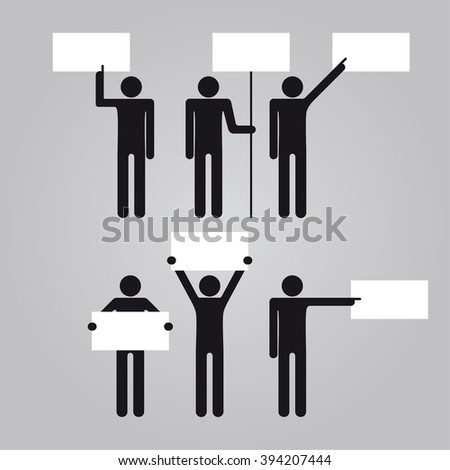 Man holding empty blank signboard banner. Vector illustration.