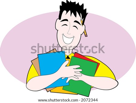 Man holding folders with a pencil in his ear