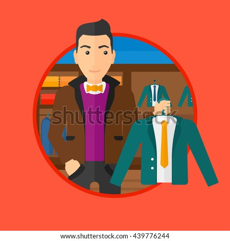 Man holding hanger with suit jacket and shirt. Man choosing suit jacket at clothing store. Shop assistant offering suit jacket. Vector flat design illustration in the circle isolated on background. - stock vector