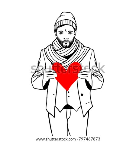 Man, holding heart in his hands
