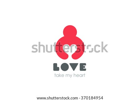 Man holding Heart Logo design vector template Negative space style. Donation idea. Valentines day concept. Cardio medical Health Logotype. Take my Love icon. - stock vector