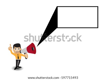Man holding megaphone to speech, Speech template