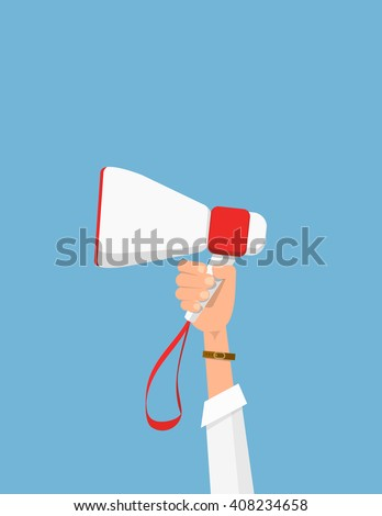 Man holding megaphone. Vector hand with bullhorn. Man's hand holding megaphone. Vector illustration in flat style. Political agitation campaign. Picket. Protest. - stock vector