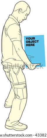 Man Holding Object 7 - stock vector