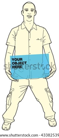 Man Holding Object 9 - stock vector
