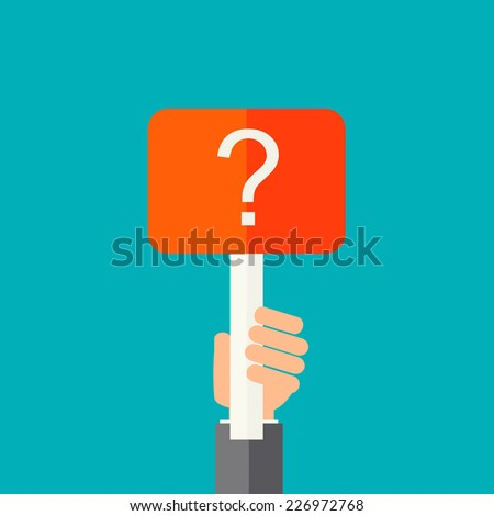 Man holding question mark.  Help sign icon . FAQ symbol. vector   - stock vector