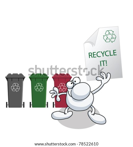 Man holding recycling message isolated on white background - stock vector