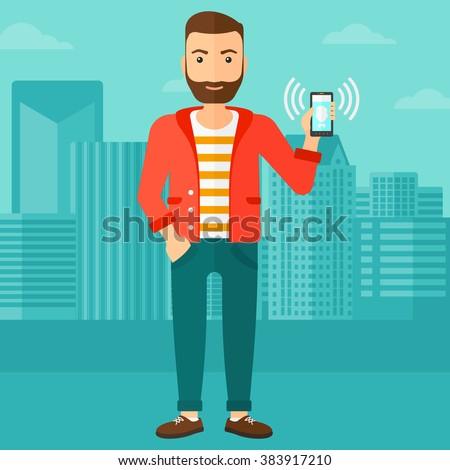 Man holding ringing telephone. - stock vector