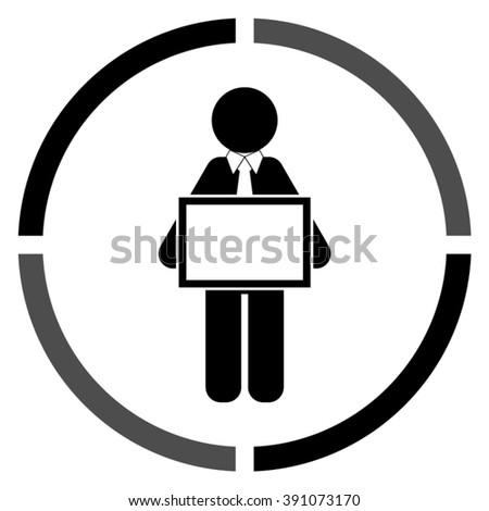 man holding tablet  - black vector icon