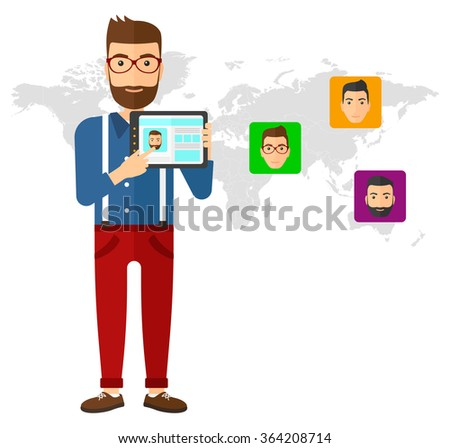 Man holding tablet computer with social media source. - stock vector