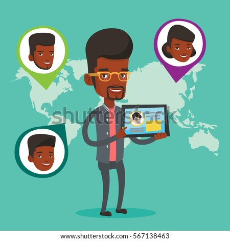 Man holding tablet computer social network stock vector 567138463 man holding tablet computer with social network user profile on a screen man standing on voltagebd Gallery