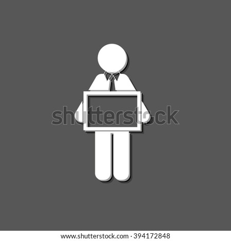 man holding tablet - white vector icon  with shadow