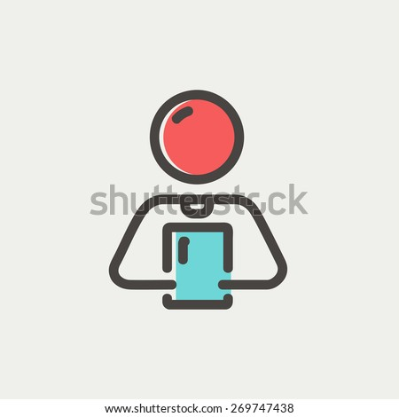 Man holding touch screen tablet icon thin line for web and mobile, modern minimalistic flat design. Vector icon with dark grey outline and offset colour on light grey background. - stock vector