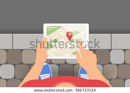 Man holds in his hand a tablet pc with mobile application for gps navigation. Illustration of traveling and finding locations using mobile gadgets - stock vector