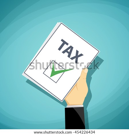 Man holds in his hand a tax declaration. Stock Vector cartoon illustration.