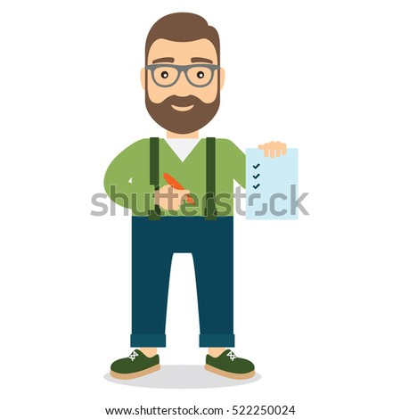Man holds sheet of paper with list and pen in hand. Flat style vector illustration.