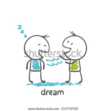 man hypnotized to another man dreamed illustrator - stock vector