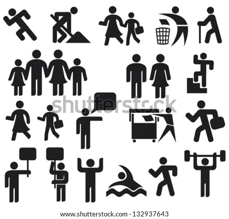 man icons (happy family, father, mother, grandfather, children, woman, parent together, male and female, recycling sign)