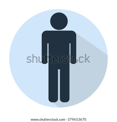 man  icons, toilet sign, restroom icon, pictogram shadow blue flat round sign  - stock vector