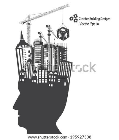 Man idea building designs concept illustration vector - stock vector