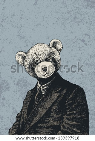 man in a bear mask and grunge scratched background. vector illustration. - stock vector