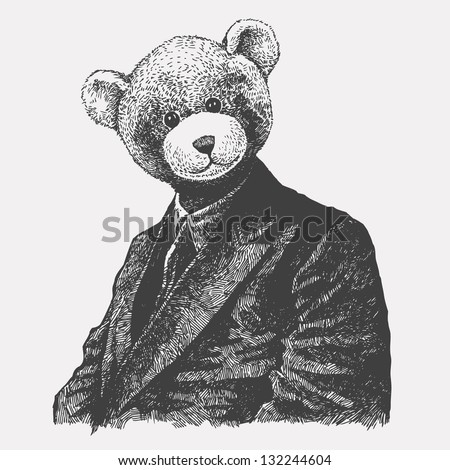 man in a bear mask. drawing style. vector illustration - stock vector
