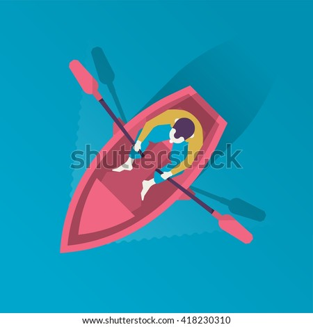 man in a boat from above vector illustration - stock vector