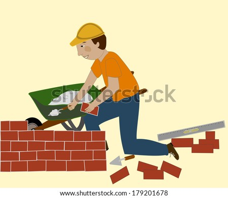 Man in a hard hat sets brick and mortar. He has a trowel, level, and wheelbarrow/The Bricklayer - stock vector