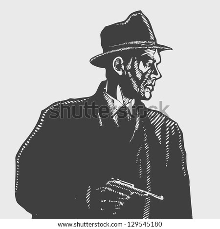 man in a hat with a pistol, drawing style. vector illustration - stock vector