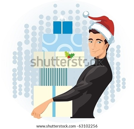 man in a Santa hat with presents - stock vector