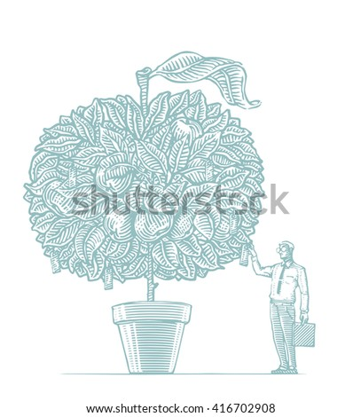 man in a suit and tie, sunglasses with a suitcase in a pot with a apple tree. businessman standing at the waiting for the result - stock vector