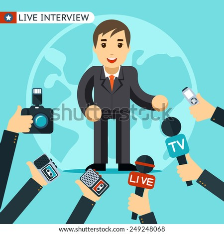 Man in a suit being interviewed. Being photographed and recorded on a dictaphone. Vector illustration - stock vector