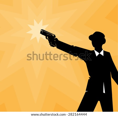 Man in a suit with a gun, background, vector - stock vector