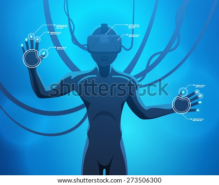 Man in a virtual reality helmet. Futuristic males figure in a VR headset against the blue abstract background - stock vector