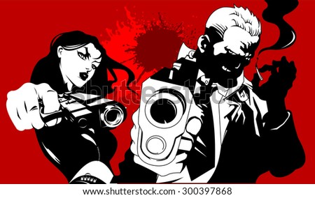man in black suits with a weapon, vector illustration - stock vector