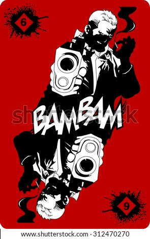 man in black suits with a weapon, vector, illustration - stock vector