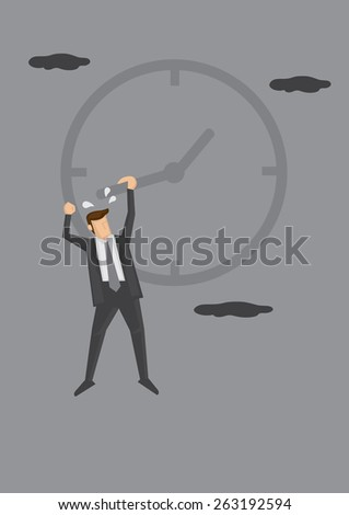 Man in business suit hanging dangerously to the hand on the face of a clock. Humorous conceptual vector illustration for metaphor relating to time management and meeting deadlines. - stock vector