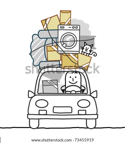 man in car & move - stock vector