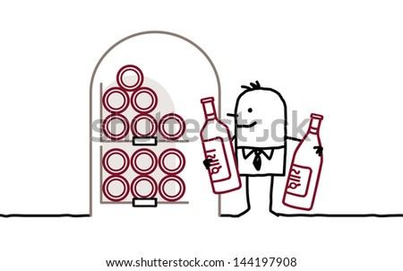 man in cellar & bottles of wine - stock vector