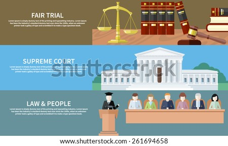 Man in court. Lawyer icons concept. Fair trial. Supreme court. Law and people. Concept in flat design style. Can be used for web banners, marketing and promotional materials, presentation templates - stock vector