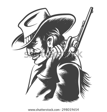 Man in cowboy hat, clothes with revolver in his hand. Engraving Style. Monochrome on white background. - stock vector