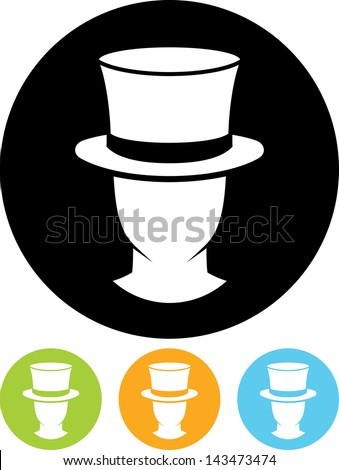 Man in cylinder hat vector icon  - stock vector