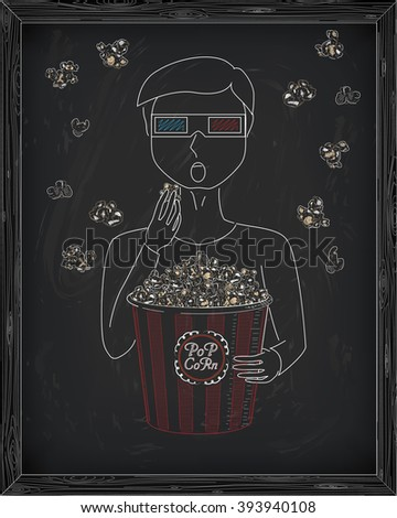 Man in 3D glasses eating delicious popcorn from a big striped carton  box. Falling popcorn. Drawn in chalk - stock vector