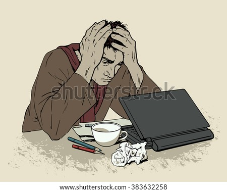 Man in depression. The crisis in the country and life. Bad feeling. The patients condition. Stress at work, at home, in  family. Of bankruptcy. The loss of meaning in life. Painted man with a laptop.  - stock vector