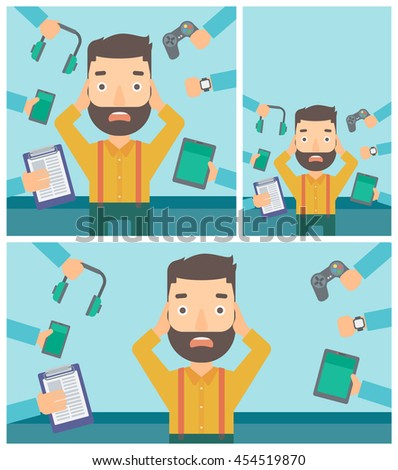 Man in despair and many hands with gadgets around him. Young man surrounded with gadgets. Man using many electronic gadgets. Vector flat design illustration. Square, horizontal, vertical layouts. - stock vector