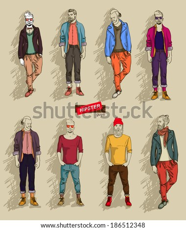 man in fashion clothes isolated on light background set vector illustration eps 10 - stock vector