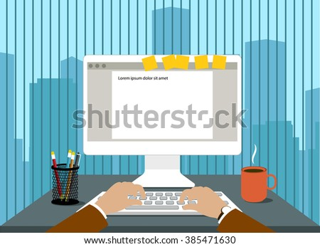 man in front of a computer monitor in the workplace flat style