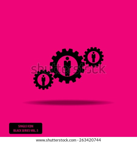 Man in Gears - Single Icon Series vol. 5 - stock vector