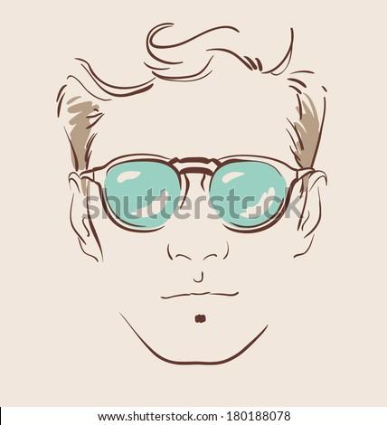 man in glasses vector illustration eps 10 - stock vector