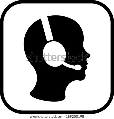 Man in handsfree headset vector icon